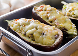 Eggplant stuffed with champignons